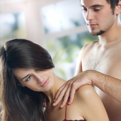 Young couple making massage