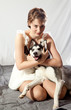 pretty woman with her pet husky dog