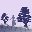 Female character who walks in the fog between two large trees