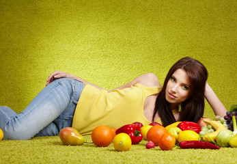 portrait of pretty woman with vegetables