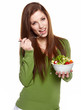 woman eating salad