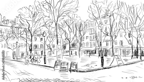 Fotobehang Getrokken Parijs Street in paris - illustration