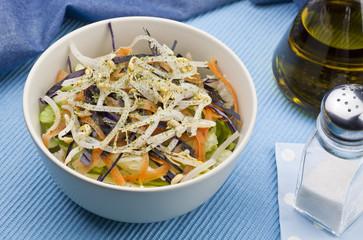 ensalada de lechuga lombarda zanahoria y brotes de soja