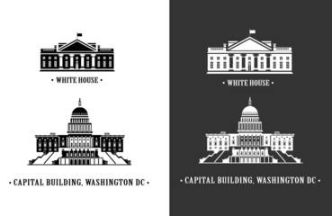 White house and Capitol building in Washington