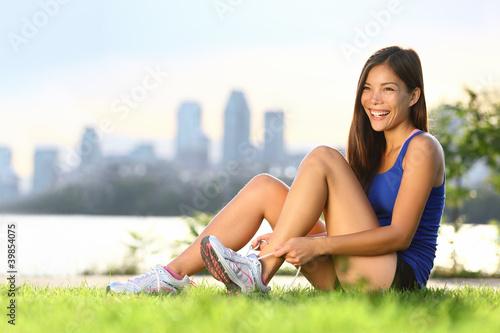 Woman runner happy