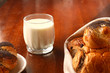 Glass of milk and buns