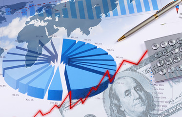Financial and business charts and graphs