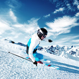 Fototapety Skier in mountains, prepared piste