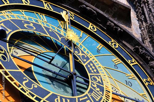Poster Famous medieval astronomical clock in Prague, Czech Republic