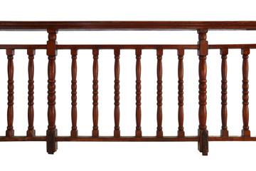wooden decorative railing isolated on white