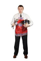 Upset man with kitchen accessories