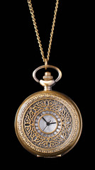 vintage pocket watch isolated on black background