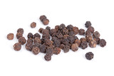 Pile Black pepper (Piper nigrum) isolated on white background.