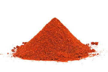 Pile of ground Paprika isolated on white background.