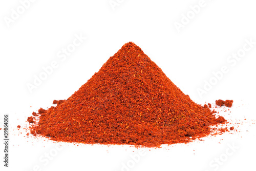 Pile of ground Paprika isolated on white background.