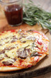 Pizza with lamb meat