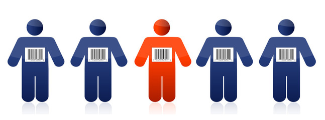 Bar code and people illustration design over white