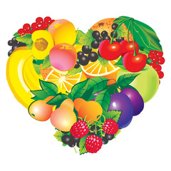 Fruits frame in the shape of heart.