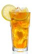 canvas print picture - glass of ice tea with lemon