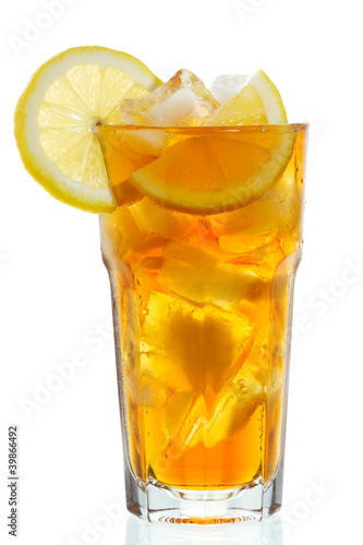 canvas print picture glass of ice tea with lemon
