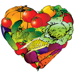 Vegetables frame in the shape of heart.