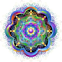 Mandala Fiore Psichedelico-Mandala Rainbow Flower-Vector