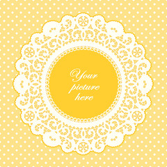 Vintage Lace Doily Frame, Pastel Yellow Polka Dot Background