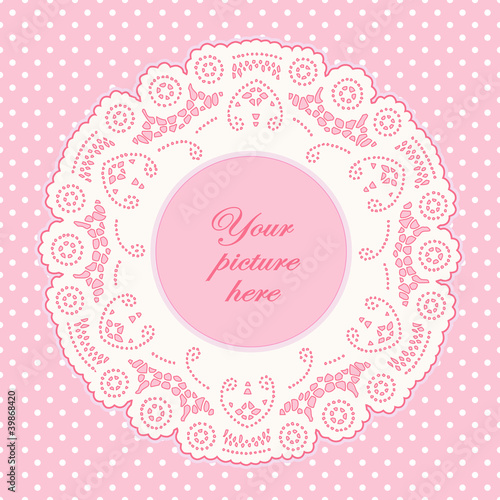 Vintage Lace Doily Frame, Pastel Pink Polka Dot Background