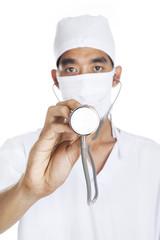 Surgeon with stethoscope