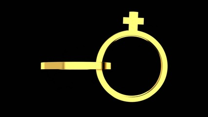 gold rings in rotation with a male and female symbol