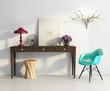 White elegant vintage chic interior, stool, table, chair
