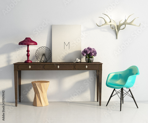 White elegant vintage chic interior, stool, table, chair