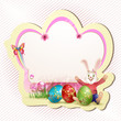 Easter card with red eggs and bunny