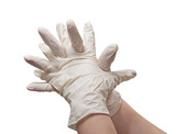 Hands of a doctor in a sterile gloves poster