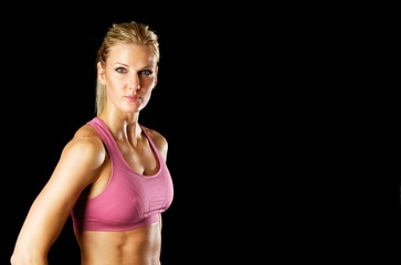 Portrait of Sexy Fitness Woman with Copy Space