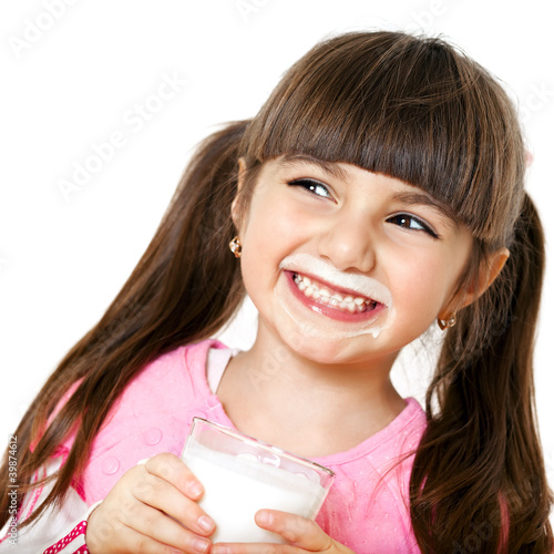canvas print picture smiling girl with a glass of milk