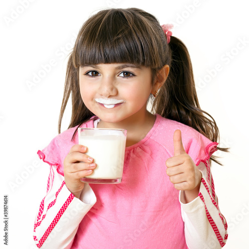 canvas print picture girl with a glass of milk