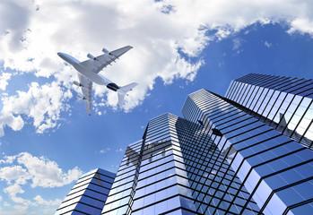 Plane reflectingon building