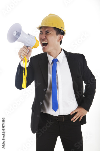 Engineer yelling through megaphone