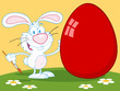 Happy Rabbit Painting Red Easter Egg Outdoors