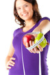 Frau mit Apfel, Birne und Maßband