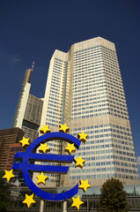 Eurotower in Frankfurt with Euro sculpture