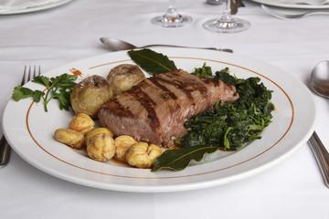 Restaurant dish - Wild boar loin  barbequed