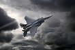 Leinwandbild Motiv F-15 Eagle flying through the storm