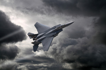 F-15 Eagle flying through the storm