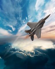 F-15 Eagle at dawn flight
