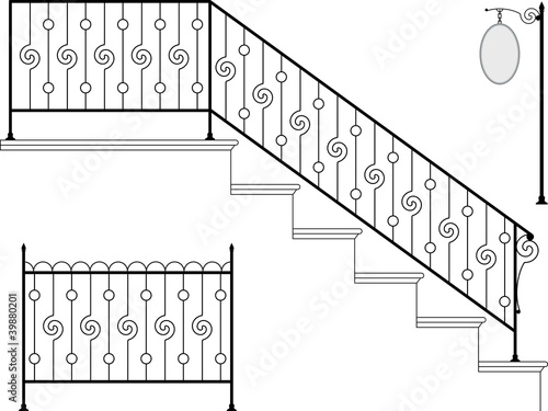 Vector wrought iron stairs gate picket grill