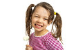 Close-up of  little girl with a lollipop on white background