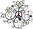 Floral Peace Symbol with Hearts and Swirls