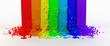 splashes color paint as a rainbow